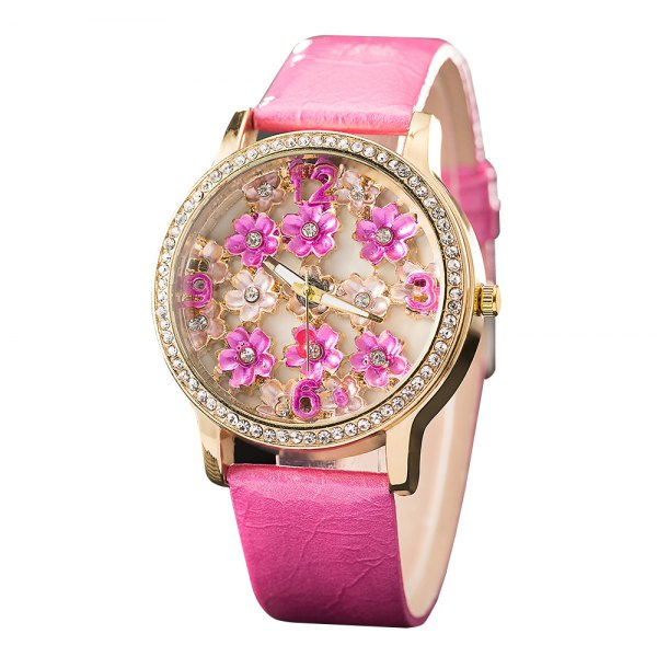 GREALY Women Stereo Flower Watch Leather Belt Decorative Watches