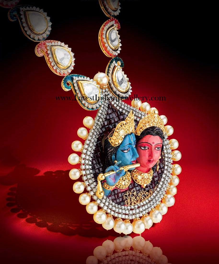 Radha Krishna Polki Diamond Necklace