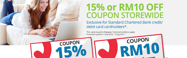 Qoo10 15% or RM10 Off Coupon for Standard Chartered Cardholders