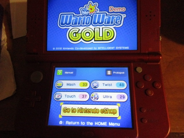 WarioWare Gold Demo scores Mash Twist Touch Ultra