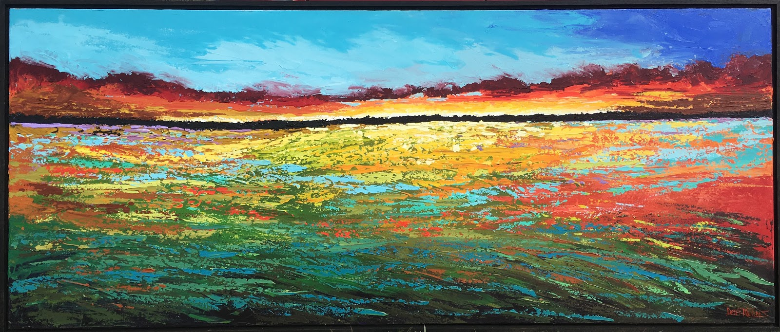 acrylic abstract impressionist sunset landscape painting