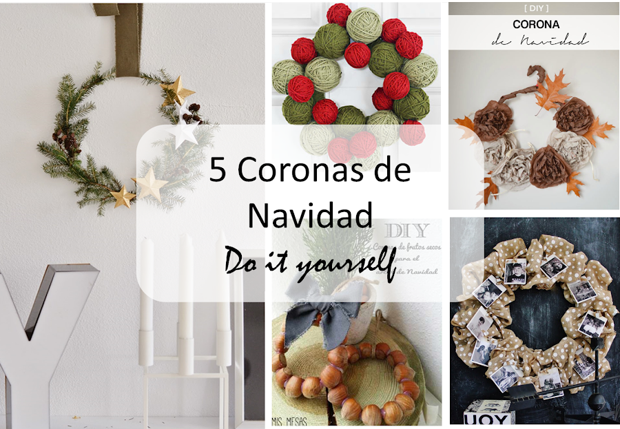 5 coronas para navidad decoraci n - Diy decoracion navidad ...