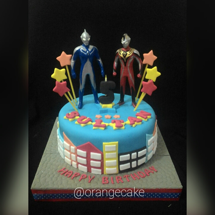 Orange Cake Ultraman Birthday Cake for Sultan