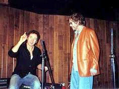 Warren Zevon and Bruce Springsteen during the recording of The Wind album 2003