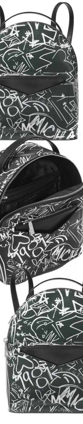 MICHAEL MICHAEL KORS Jessa Small Logo Graffiti Leather Convertible Backpack