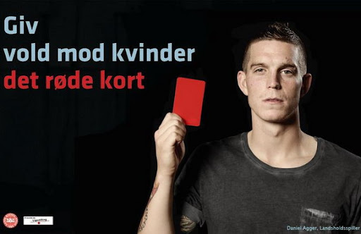 Daniel Agger in the 'Give violence against women the red card' campaign