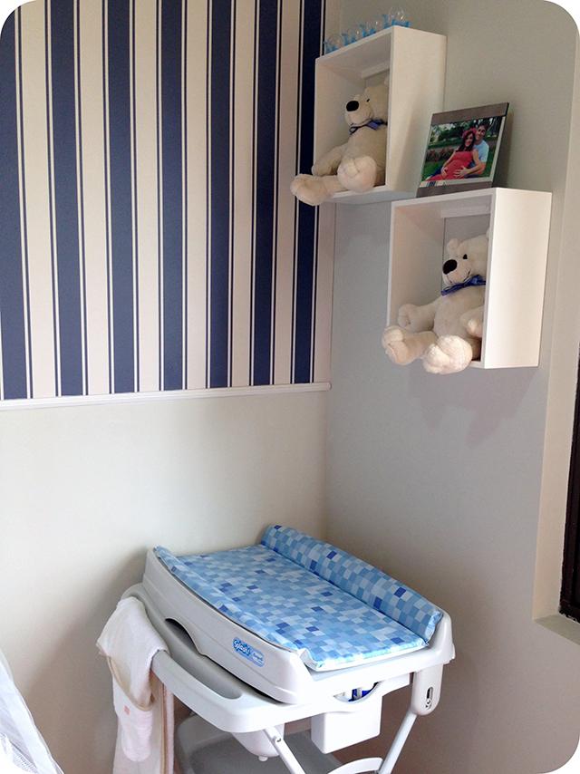 Banheira - Quarto de Bebê Azul e Branco com Ursinhos