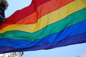 a rainbow coloured flag-the symbol of the LGBT community