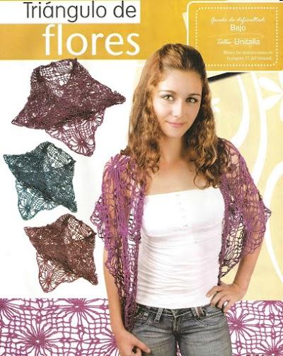Chal en triangulo crochet flores centrales