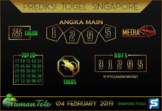 Prediksi Togel SINGAPORE TAMAN TOTO 04 FEBRUARI 2019