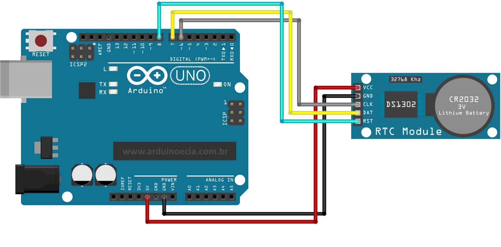 Data e hora no arduino com o rtc ds cia