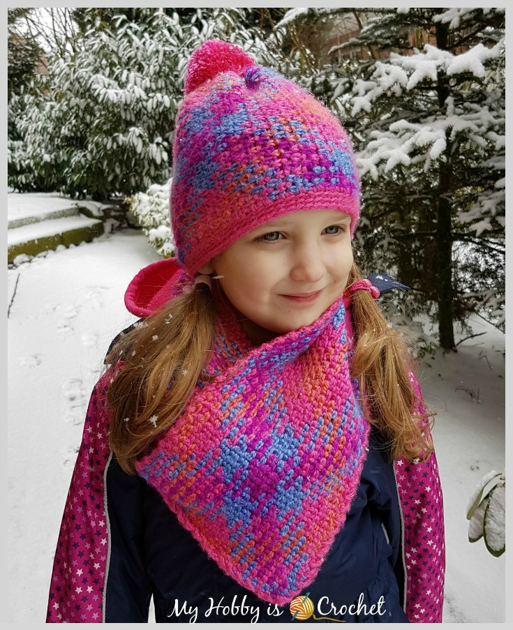 Free Crochet Pattern: Planned Color Pooling Bohemian Hat & Cowl Set