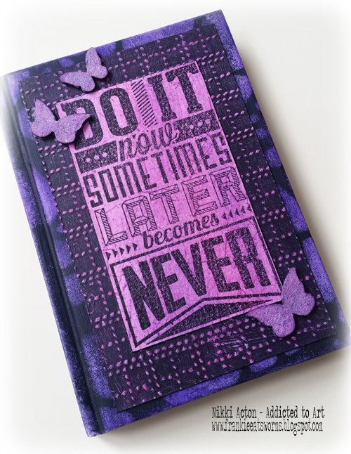 Altered Notebook - Tim Holtz Motivation 3 stamp set - by Nikki Acton
