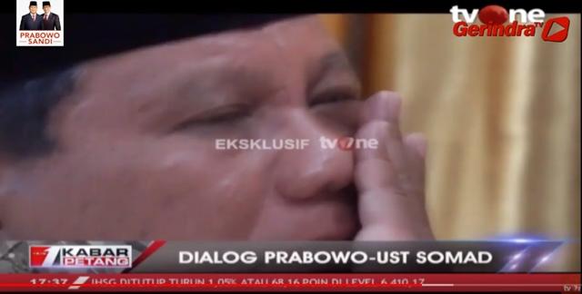Prabowo Menyeka Air Matanya, UAS Pinta Jangan Diundang ke Istana dan Jangan Dikasih Jabatan