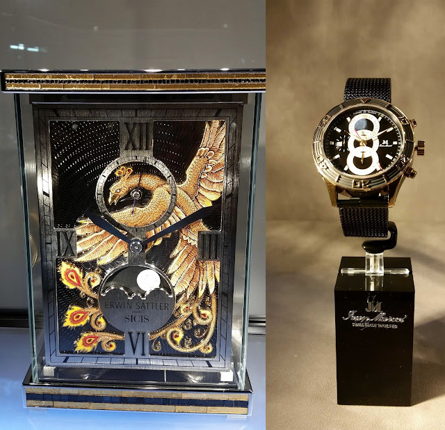 Erwin Sattler clock with a golden eagle and Jean Marcel watch