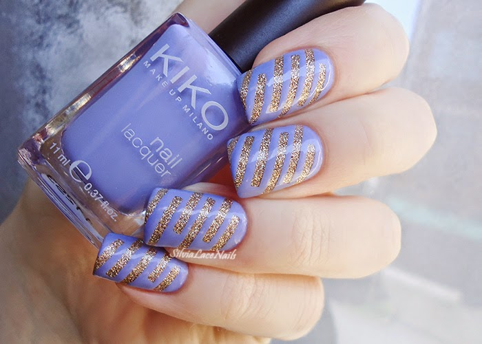 Mani swap: Lilac and gold tape nail art