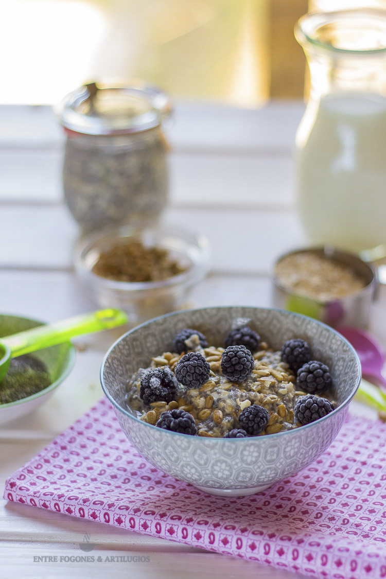 Desayuno a base de avena con chía