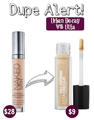 Urban Decay Weightless Complete Coverage Concealer VS ULTA Full Coverage Concealer