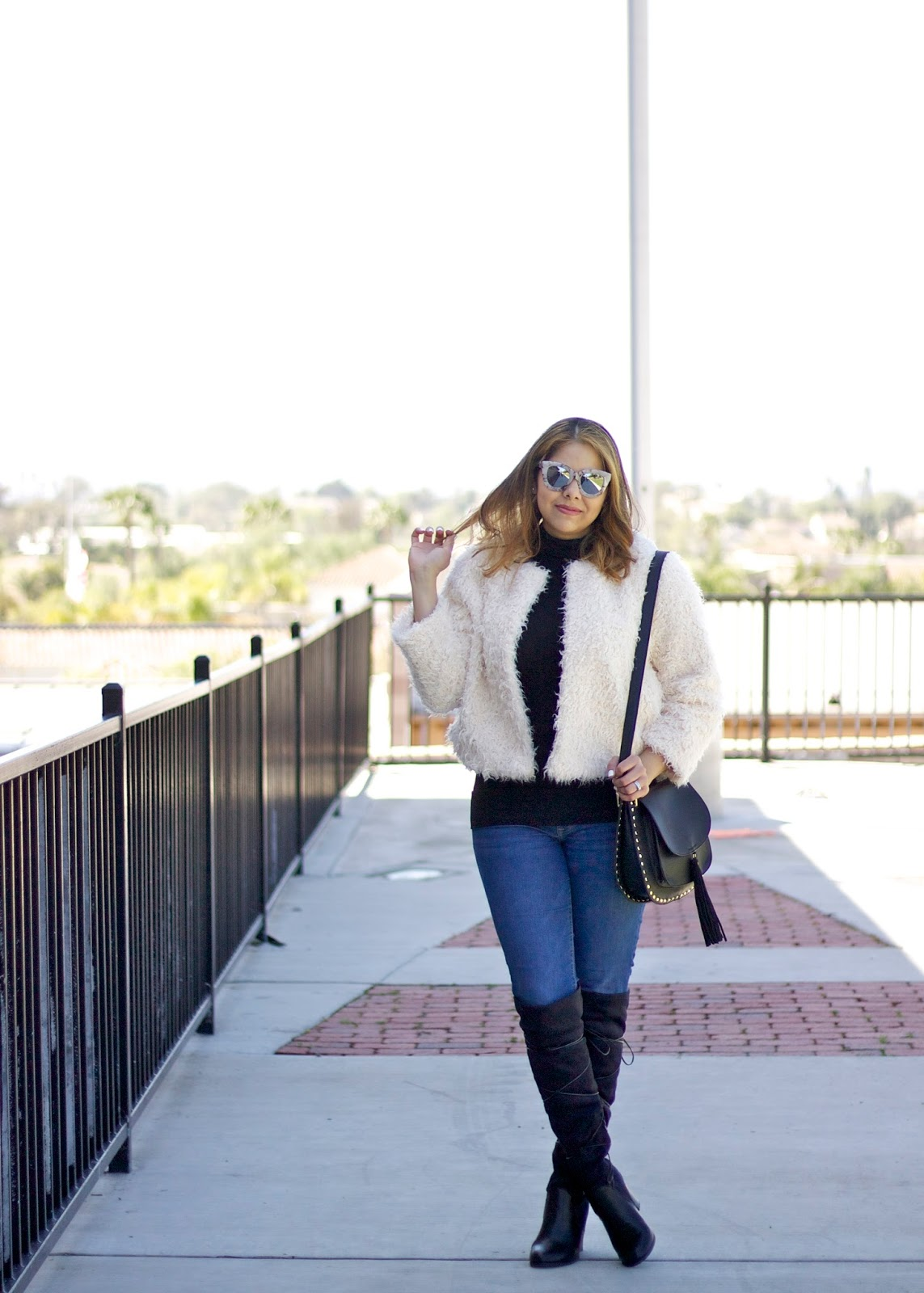 how to wear over the knee boots, how to wear a textured jacket, cold weather chic outfit, black turtleneck outfit