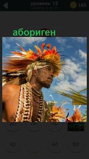 абориген с перьями на голове 15 уровень в игре 470 слов