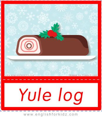 Yule log - printable Christmas food flashcards
