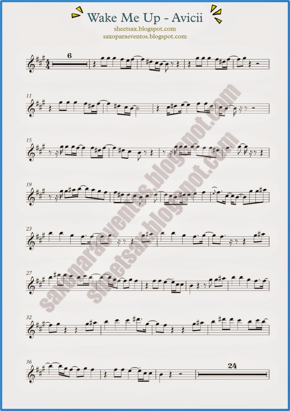 Wake me up by avicii sheet music and playalong for your sheet music of wake me up by avicii for sopranino saxophone alto sax baritone sax sax bass trumpet flugelhorn and cornet in e eb clarinets free sheet hexwebz Gallery