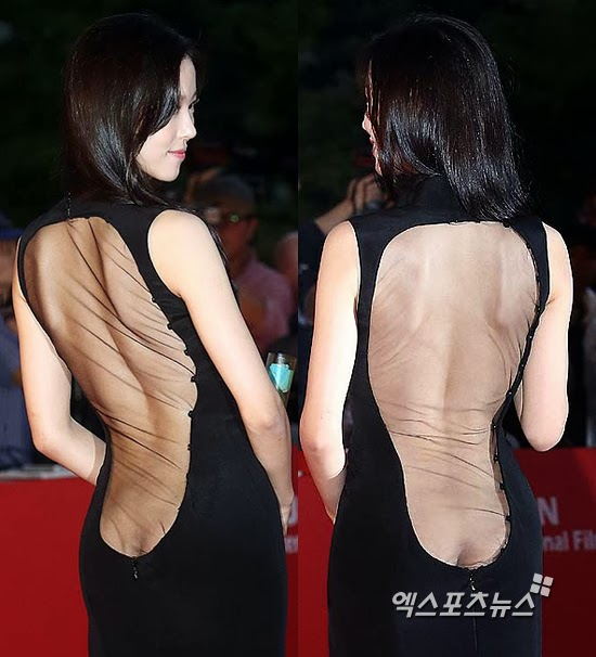 Actress Kang Hanna (강한나) at the 18th Busan ​​International Film Festival (BIFF 2013) has dress with daring design sparking strong controversy.