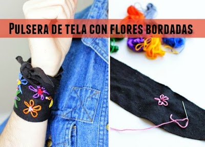 Pulsera de tela con flores bordadas