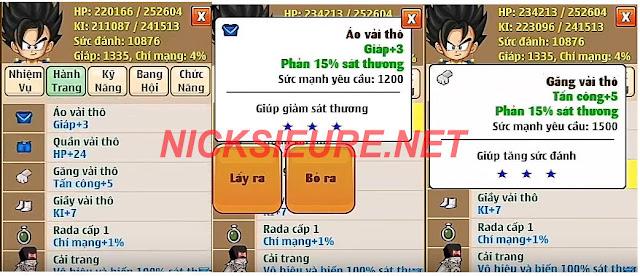 shop bán nick NRO Hồng Ân - set phản sát thương ngọc rồng online