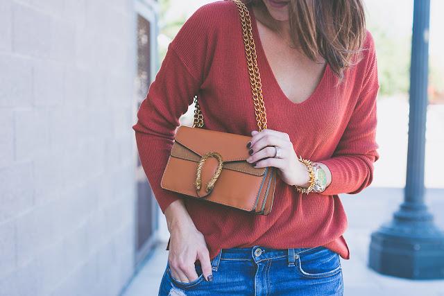 Shein cross body bag for Fall. Burnt orange v neck sweater for Fall