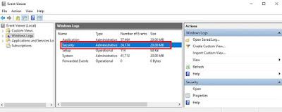 Peraga Peristiwa Windows 10 menunjukkan audit masuk