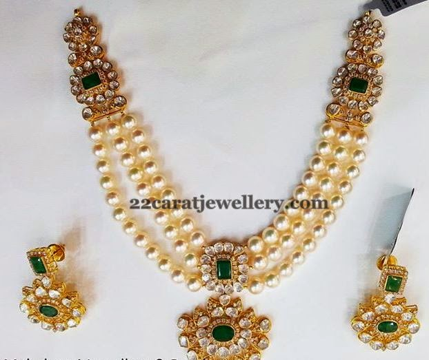 Three Step Pearl Necklace Jewellery Designs