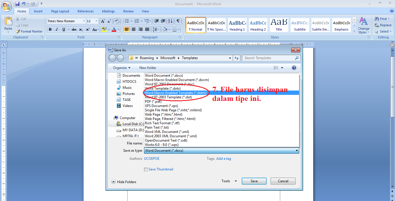 microsoft word macro enabled template - tutorial office word cara merubah default jenis huruf
