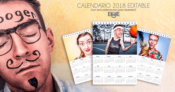 Calendario 2018-2019 de pared para imprimir editable gratis