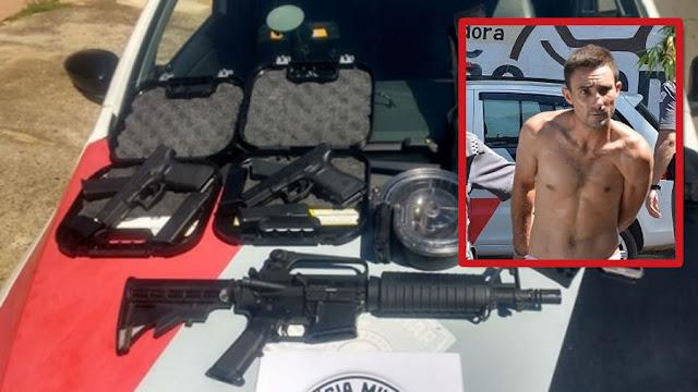 PM recebe denúncia sobre pé de maconha e encontra fuzil, pistolas, colete e munições em Itapira(SP)