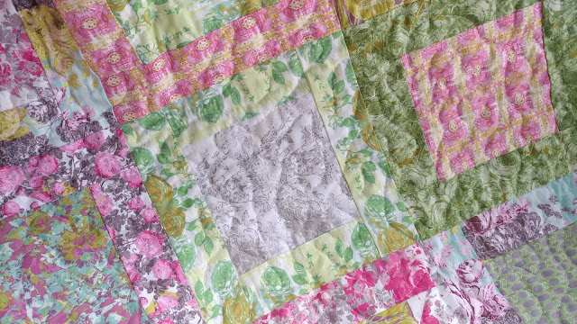 Box Block quilt using Rose Water fabric by Free Spirit
