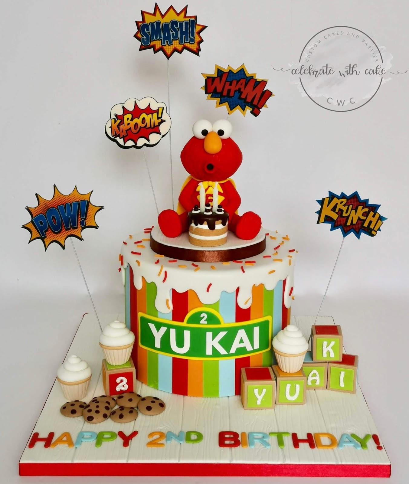 Super Elmo Single Tier With Playing Blocks And Mini Cupcakes Cake