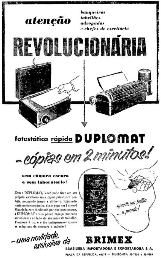 Campanha da Brimex, veiculada nos anos 50 para promover a Copiadora Duplomat