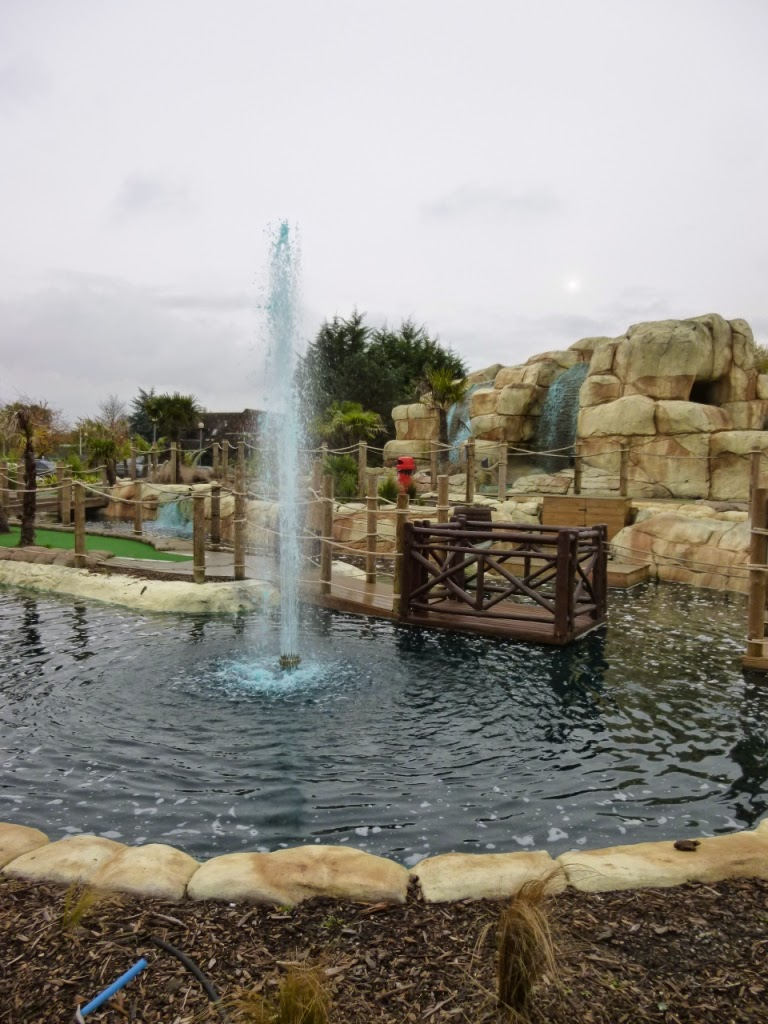 There are a lot of water features (and hazards) at the Jungle Island Adventure Golf course at Horton Park Golf Club in Epsom, Surrey