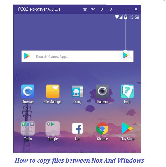 cara memindahkan files pc laptop nox