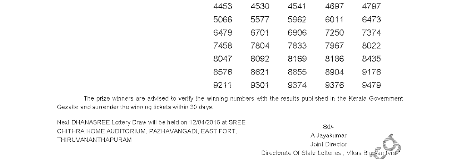 DHANASREE Lottery DS 231 Result 5-4-2016