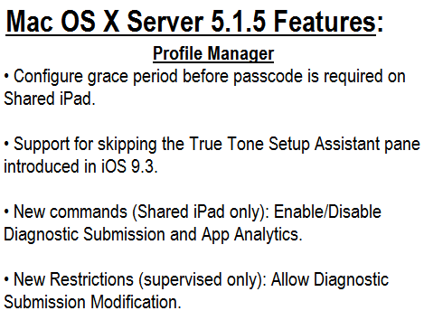 Mac OS X Server 5.1.5 Features and Changelog