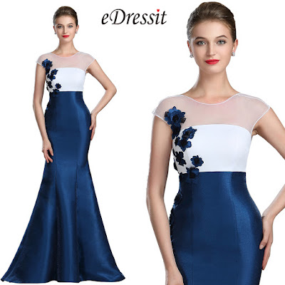 White & Blue Floral Mermaid Ladies Dress Ball Gown