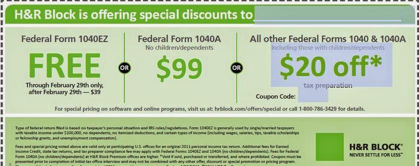 H&r block tax software coupon code