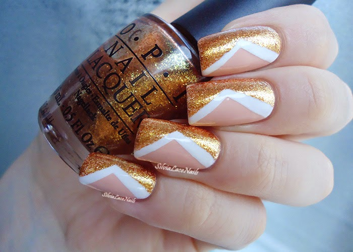 Nude gold chevron nail art