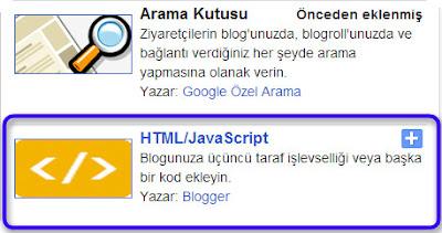 HTML JavaScript gadgetini açarak menü kodumuzu ekliyoruz