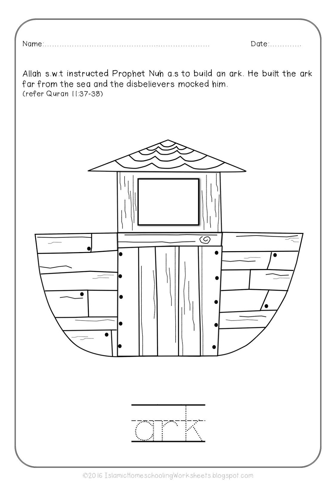 free islamic coloring sheets prophet nuh and the ark story