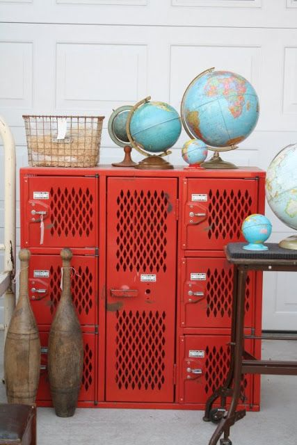 Red vintage lockers