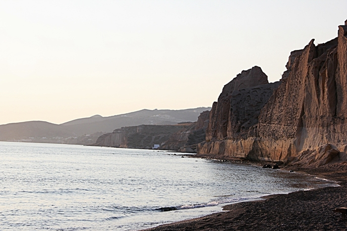 beautiful calm isolated Santorini beaches
