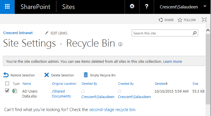 sharepoint restore from recycle bin powershell